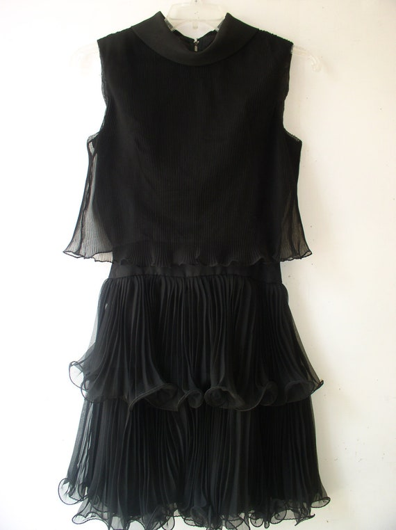 1960s Cocktail Dress / Flapper Style Miss Elliette Black Chiffon Cocktail Dress with Layers of Accordian Pleated Chiffon