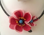 Pink Necklace,Pink pendant,Pink  and Red Poppy Crochet Necklace,Crochet Necklace, Pink Rose Necklace,Statement Necklace,