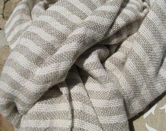 Handwoven Linen Flax Natural And White Scarf (Shawl)- Pure Linen