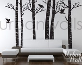 Vinyl Wall Sticker Decal Art - Birch Trees
