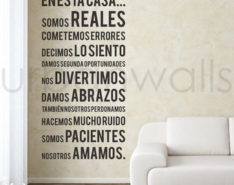 Vinyl Wall Sticker Decal, Spanish In this house we do