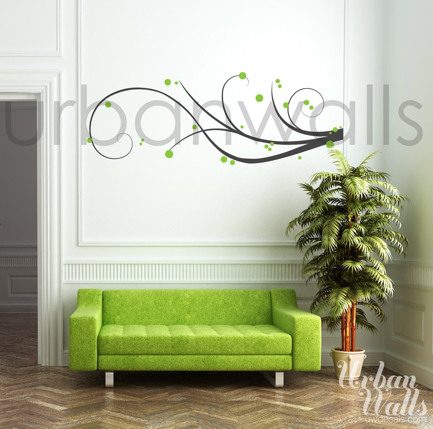 Vinyl wall sticker decal art swirl away for Adhesive wall decoration