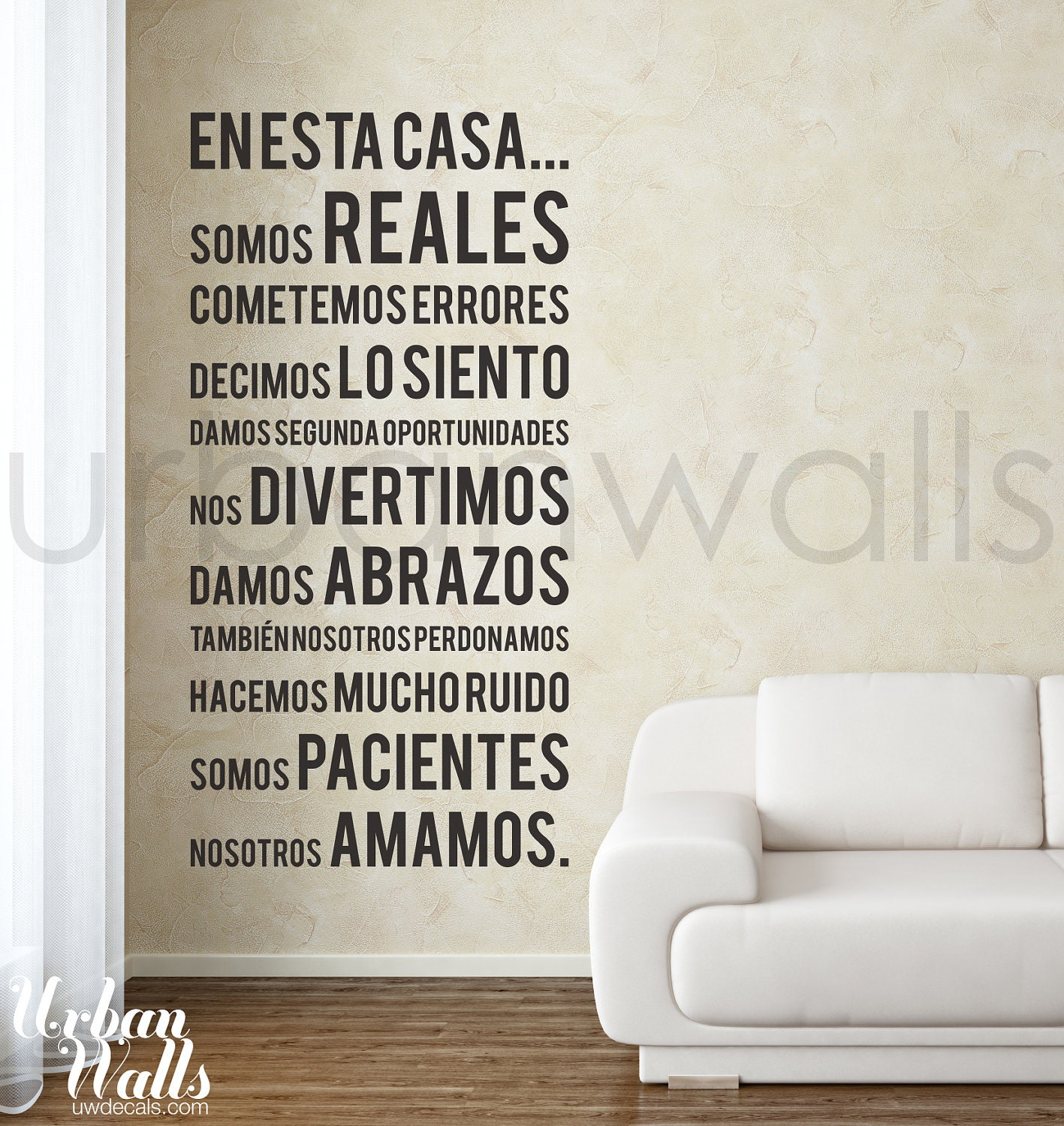 Vinyl wall sticker decal spanish in this house we do zoom amipublicfo Choice Image