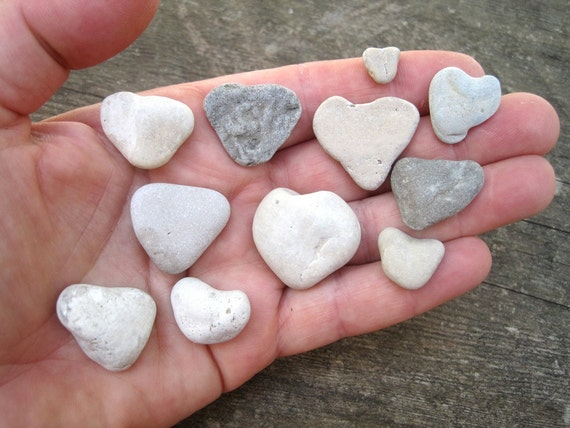 Stone Heart Collection -  Miniature Heart Shaped Stones - Natural Stone Heart