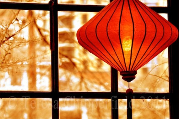Silhouette, Fine Art Digital Photo Print  - Chinese Lantern - View from a Window - Portland Oregon Wall Art, Ellie Deli Home Decor, 8 x 12