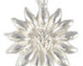 Bali 925 Sterling Silver Flower Charms,  Bright  Sunflower Charm Pendant- 2 pcs.