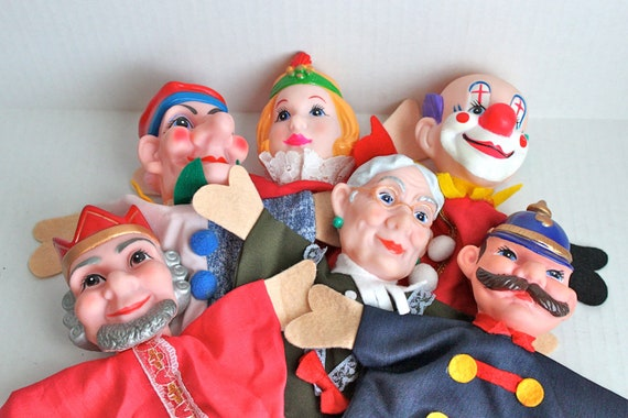 vintage hand puppets with rubber heads // lot of six // great condition