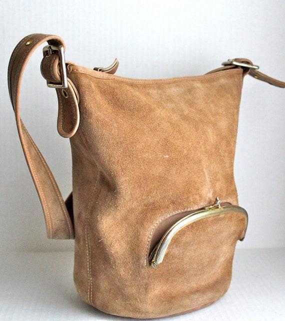 vintage 60s Bonnie Cashin for Meyers suede bucket shoulder bag // kiss-lock pocket