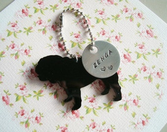Personalized Hand Stamped Keychain Black Or White English Bulldog Made to order