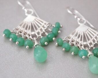 Mint Green Chrysoprase Sterling Silver Chandelier Earrings