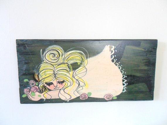 vintage flower child wood painting - 1960s - MOD - summertime
