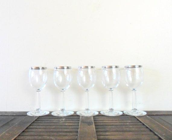 vintage 1960s mad men chic silver rimmed cordial glasses