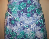 RESERVED FOR DIANNA Vintage Apron, Half Apron, Blue, Green, Teal, Purple, White Floral Apron with White Rick Rack Trim and Pocket, Kitsch
