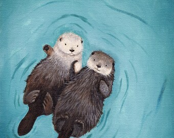 Otters Holding Hands Valentine's Day Gift Art print of original paainting - cute, romantic, perfect wedding or engagement gift