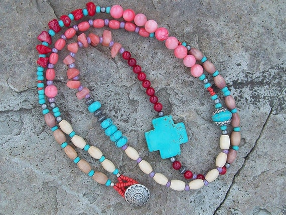 Turquoise Cross Beaded Necklace