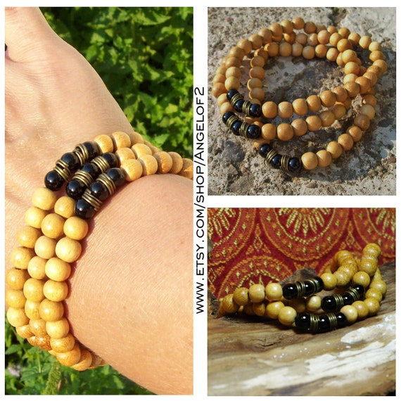 Onyx Gemstone and Mustard Dyed Wood Bracelet Stretch Stack