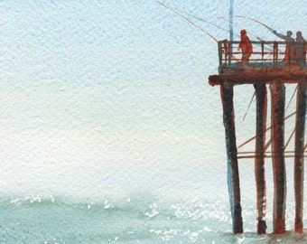 Fishing at the Pier Watercolor Painting Signed Giclee Print