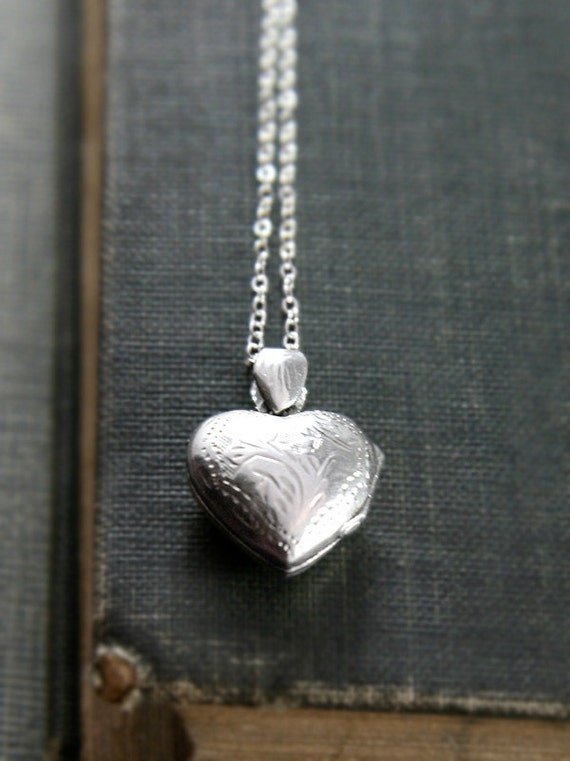 Tiny Vintage Heart Locket Necklace, Sterling Silver Engraved Pendant - Sweet Trinket Bauble