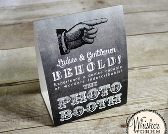 Photo Booth Table Tent - Vintage Chalkboard Design