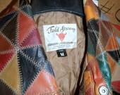 FANTASTIC Vintage 60s 70s Patchwork LEATHER Shirt Jacket sz M excellent condition.