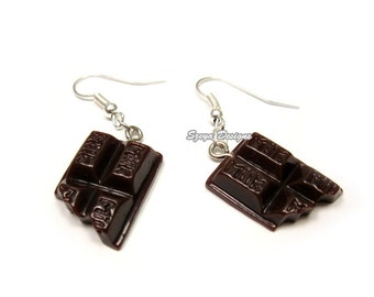 Chocolate Earrings - cute earrings miniature jewelry faux food earrings foodie chocoholic quirky earrings funny jewellery kawaii earrings