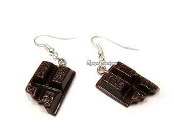 Chocolate Earrings - cute earrings miniature jewelry faux food earrings foodie chocoholic quirky earrings funny jewellery kawaii earrings