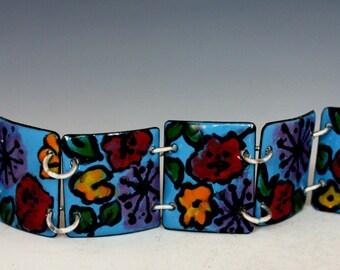 SALE!,  Handpainted Enamel , Panel Bracelet, Bracelet , Blue, Flowers, poppies,popular styles, Vitreous Enamel