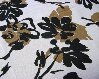 Vintage 50s 60s Mid-Century Modern Fabric -Black Taupe White Abstract Floral -Clothing Dress Decorator Material