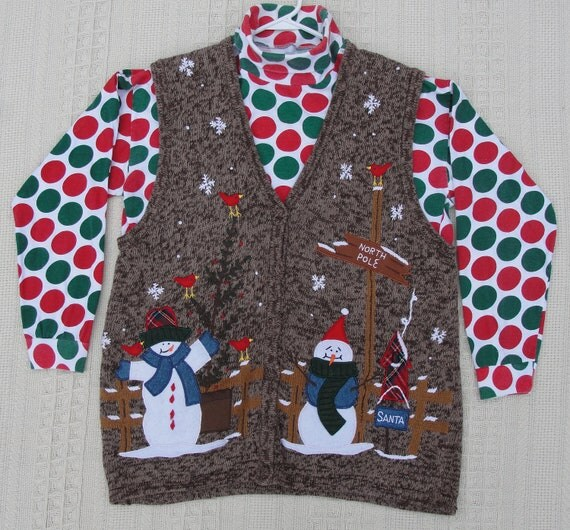 Reduced Ugly Christmas Sweater Vest with Great Appliques