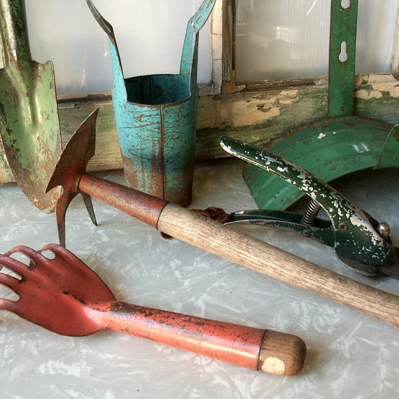 Six Colorful Vintage Garden Tools