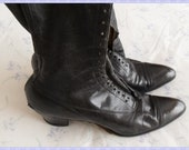 Genuine Antique Leather Victorian Black Handmade Boots.Best fit a size 8.5-9.Outer length 10 inches.