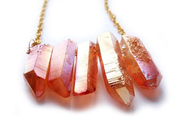 Orange Titanium Aura Quartz Crystal Necklace