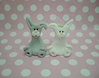 Polymer Clay Bunnie Wedding Cake Topper