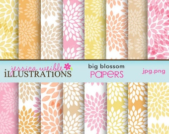 Big Blossom Cute Digital Papers for Card Design, Scrapbooking, and Web Design