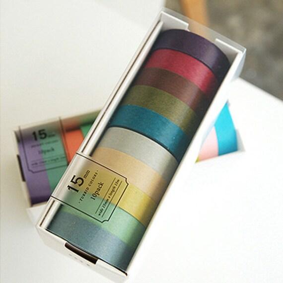 10 Set - Turbid Colors Adhesive Masking Tapes (0.6in)