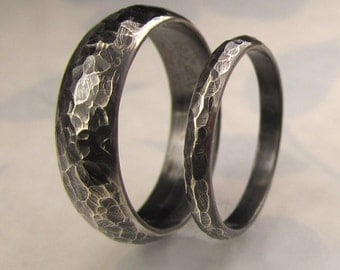 Blackened Sterling Wedding Band Set