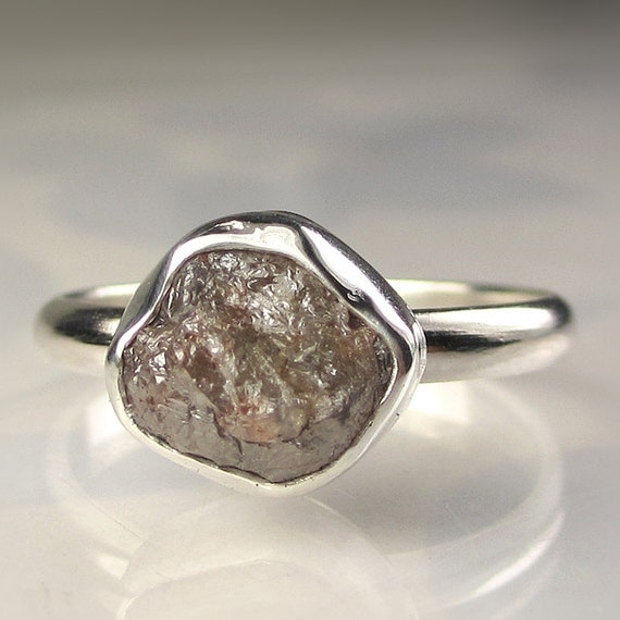 Rough Diamond Engagement Ring - Recycled Palladium Sterling Silver - 2.55CTS