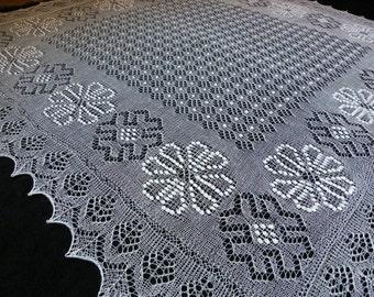 Haapsalu shawl- large hand knitted traditional square Estonian lace shawl, wedding shawl from fine merino wool- CUSTOM MADE