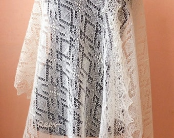 Hand knitted natural white Haapsalu shawl, traditional Estonian lace shawl- CUSTOM MADE
