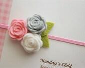 Felt Flower Headband in Pink and Gray Roses - Baby Headbands, Newborn Headbands, Baby Girl Headbands