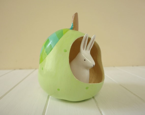 Bunny on a light green pear - OOAK Hand painted gourd with bunny figurine