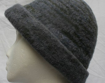 Handmade Steel blue hand knitted and hand felted Derby