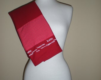 Large Kitchen Tea Towel Waffle weave fabric in red with polka dot banner