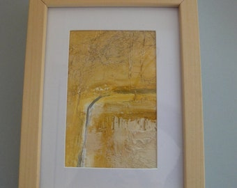Original Abstract Painting on Paper Framed Earthy Colours Landscape Based