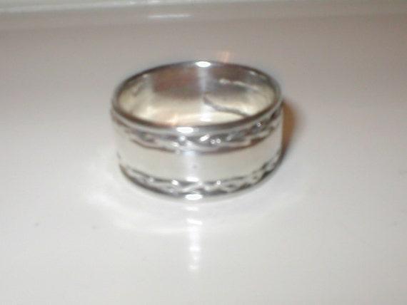 HOLD for Caroline Bergen  Vintage Wide Sterling Silver Band RING sz10
