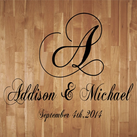 wedding monogram dance floor decal reception vinyl wall decal lettering decor free shipping buy 2 get