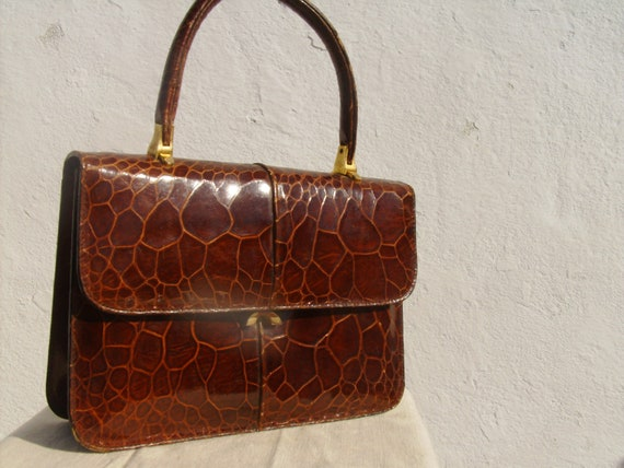 Vintage leather handbag 50s