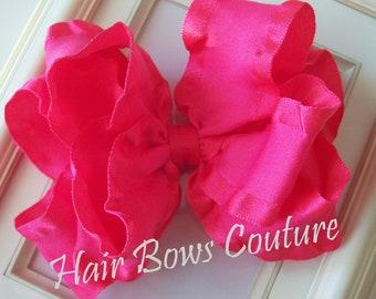 Large Shocking Pink Double Ruffle Stacked Hair Bows  Fancy Hairbows Toddler Pink Hairbows Girls