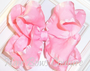Large Pink Double Ruffle Double Layered Stacked Hair Bows  Fancy Hairbows Toddlers Girls