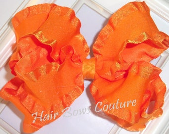 Large Orange Double Ruffle Double Layered  Hairbow  Fancy Stacked  Hairbows Hair bows Toddlers Girls Photo Prop